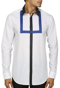 white-shirt-with-black-and-blue-patch