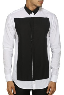 white-and-black-color-blocked-shirt