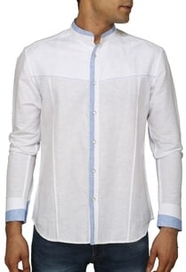 white-and-contrast-blue-shirt