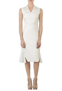 ivory-floral-jacquard-dress