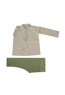 grey-olive-green-printed-kurta-set