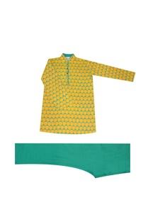 saffron-green-printed-kurta-set
