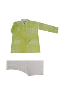green-grey-tie-dye-kurta-set