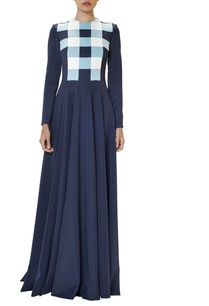 navy-blue-pleated-checked-gown