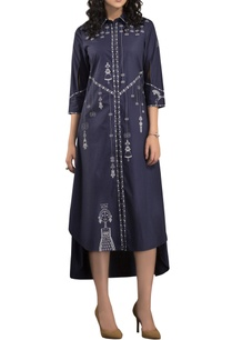 navy-blue-screen-printed-shirt-dress