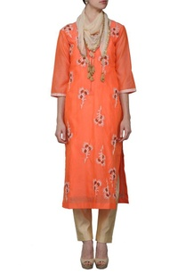 orange-embroidered-kurta-set-with-stole