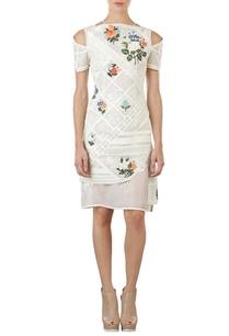 ivory-floral-applique-cold-shoulder-dress-with-inner