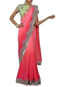 shaded-pink-embellished-sari-with-mint-green-blouse