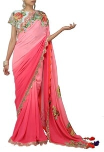fuschia-pink-shaded-floral-applique-sari