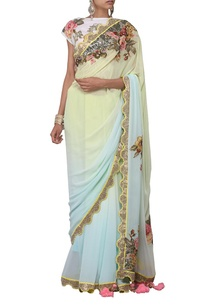 pastel-blue-and-mint-green-floral-applique-sari