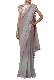 grey-shaded-sari-with-floral-applique-crop-top