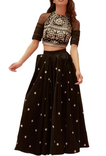 black-twill-net-embroidered-crop-top