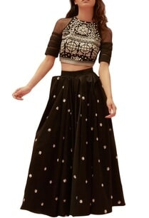 black-cotton-satin-embroidered-long-skirt