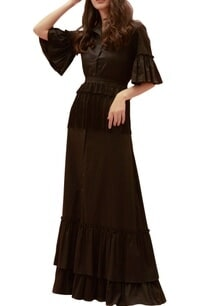 black-cotton-tasseled-shirt-dress-with-belt