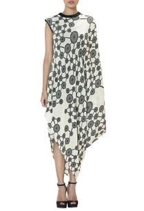 black-white-swirl-cowl-dress