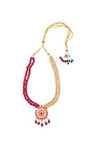 kundan-pink-bead-tie-up-necklace