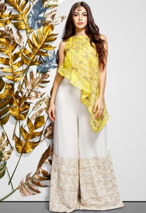 yellow-pleated-top-palazzos