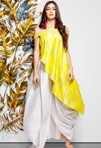 yellow-asymmetric-blouse-draped-skirt