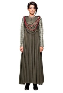 forest-green-panelled-dress-with-attached-necklace
