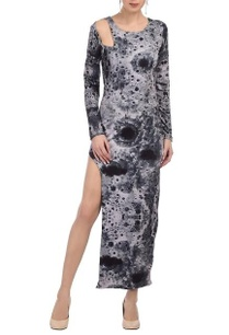 grey-moon-printed-high-slit-dress