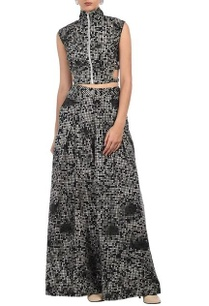 black-grey-white-pixel-printed-crop-top-with-palazzos