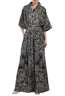 black-grey-white-pixel-printed-flap-collar-jumpsuit
