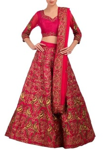fuschia-gold-embroidered-lehenga-set
