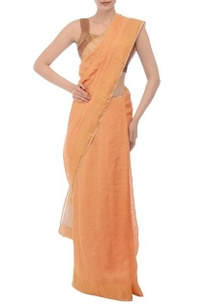 orange-gold-jamdani-linen-sari