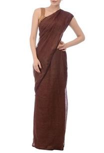 cocoa-brown-silver-zari-linen-sari