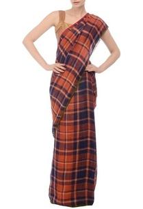 burnt-orange-navy-checked-linen-sari