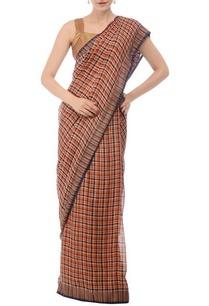 burnt-orange-navy-plaid-linen-sari