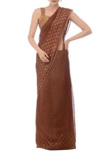 cocoa-brown-linen-jamdani-sari