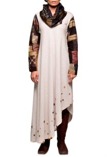 beige-cowl-patchwork-dress-with-black-pants