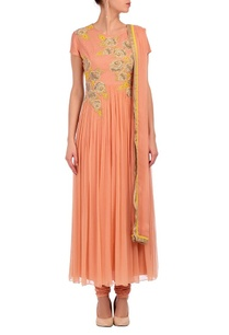 salmon-pink-yellow-grey-floral-embroidered-kurta-set