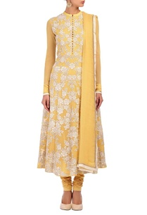 soft-yellow-ivory-floral-applique-kurta-set