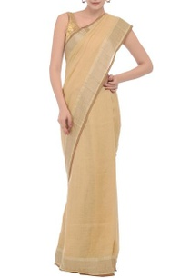 beige-brown-silver-checkered-linen-sari