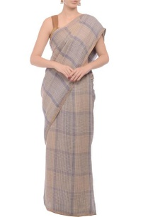 pale-purple-beige-plaid-linen-sari