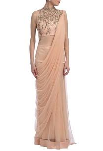 peachy-pink-floral-zardosi-sari-gown
