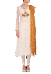 white-deep-gold-embroidered-kurta-set