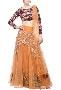 orange-pink-rose-printed-embroidered-lehenga-set
