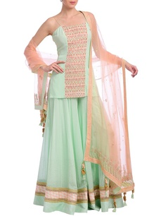mint-peach-embellished-kurta-set