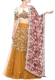 mustard-rose-embroidered-floral-printed-lehenga-set