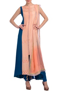teal-blue-peach-embellished-kurta-set