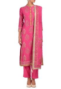 carnation-pink-motif-embroidered-kurta-set