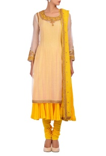white-yellow-layered-embroidered-kurta-set