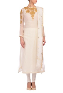white-yellow-embroidered-kurta-set