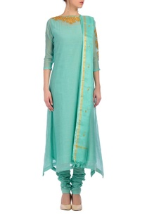 aqua-gold-embroidered-kurta-set