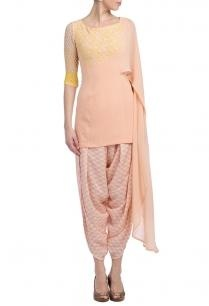 peach-canaryyellowfloral-tunic-with-dhoti-pants