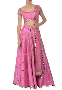 carnation-pink-mirror-embroidered-lehenga-set