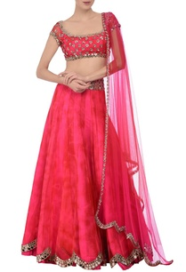 red-fuschia-tie-dye-mirror-embroidered-lehenga-set